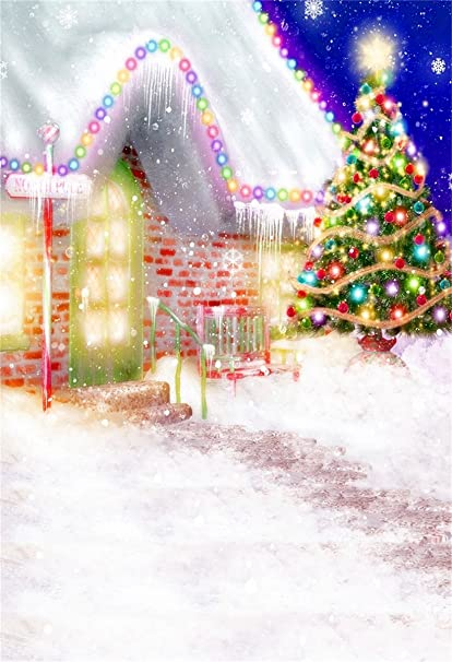 New Fairy Tale Christmas Photo Backdrop Kids 7x5 Wooden Santa Claus House Snow Xmas Tree Backgrounds for Photography Newborn Seamless Photo Backdrops Xmas Picture for Children
