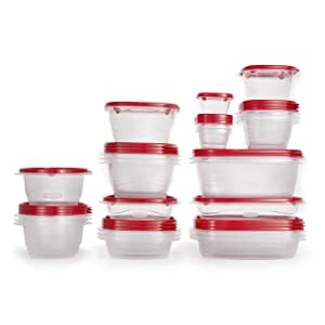 Rubbermaid 2108385 TakeAlongs Food Storage Containers, 52 Pieces, Ruby Red