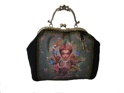 veronicamolero Bolso boquilla metálica Frida Kahlo