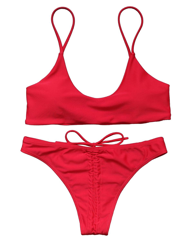 OMKAGI Women's Sexy Push-up Wrinkle Scrunch Brazilian Bikini Set Thong Bow-Knot Swimsuits