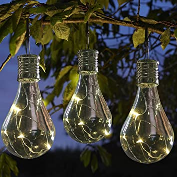 3 x Ornamental light Bulb Firefly Hanging Solar Powered Outdoor