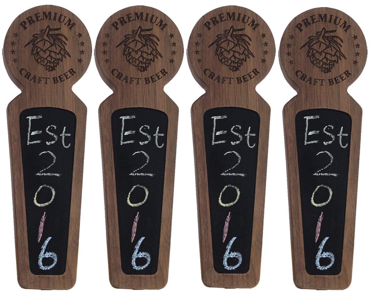 Beer taps handle Set of 4, Kegerator Beer Tap Handles with chalkboard, Unique Wooden Beer Taps 8.3'' Length, Premium Craft Beer, Made of natural Walnut Wood … by Sweetheart (Image #1)