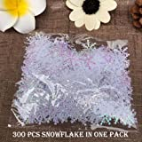 ZYN Plastic Snowflake Ornaments Sparkling White Iridescent Glitter Snowflake Ornaments Crafting Wedding and Embellishing 300 PCS 01