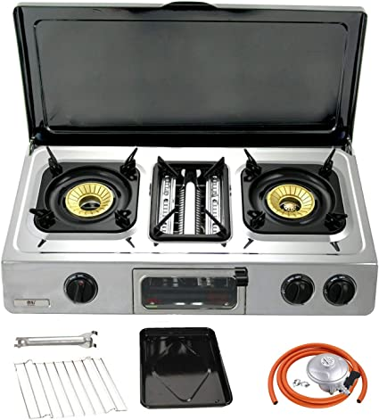 NJ GC-87 Camping Gas Stove 2 Burners Grill /& Oven Stainless Steel Outdoor BBQ Propane 37mbar Screw-on