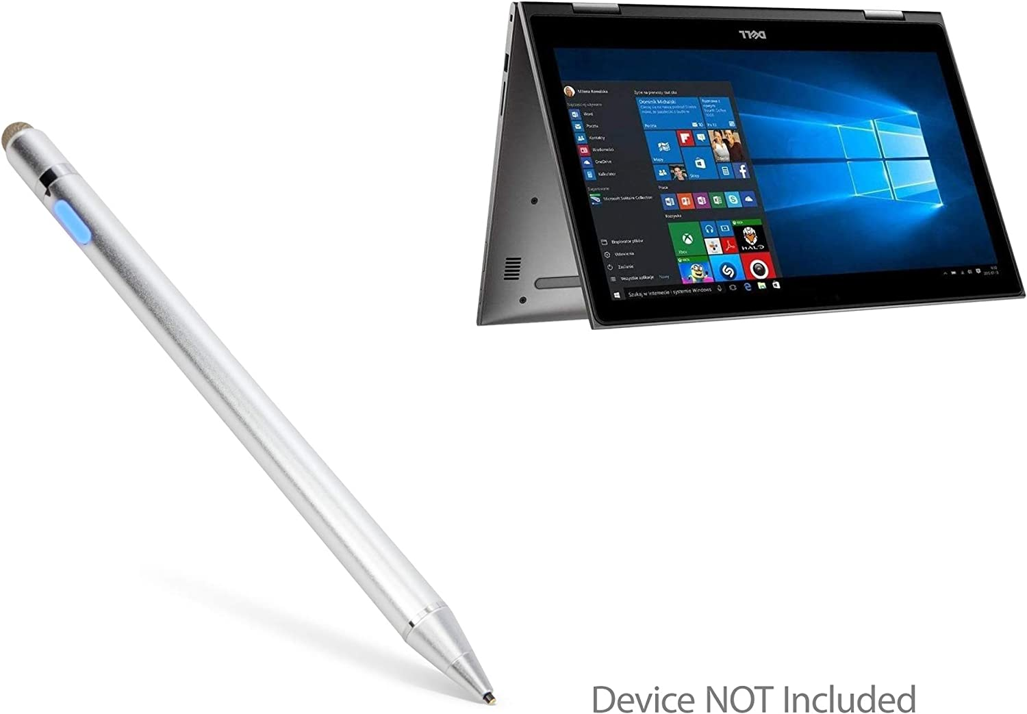 Dell Inspiron 13 5000 (5379) Stylus Pen, BoxWave [AccuPoint Active Stylus] Electronic Stylus with Ultra Fine Tip for Dell Inspiron 13 5000 (5379) - Metallic Silver
