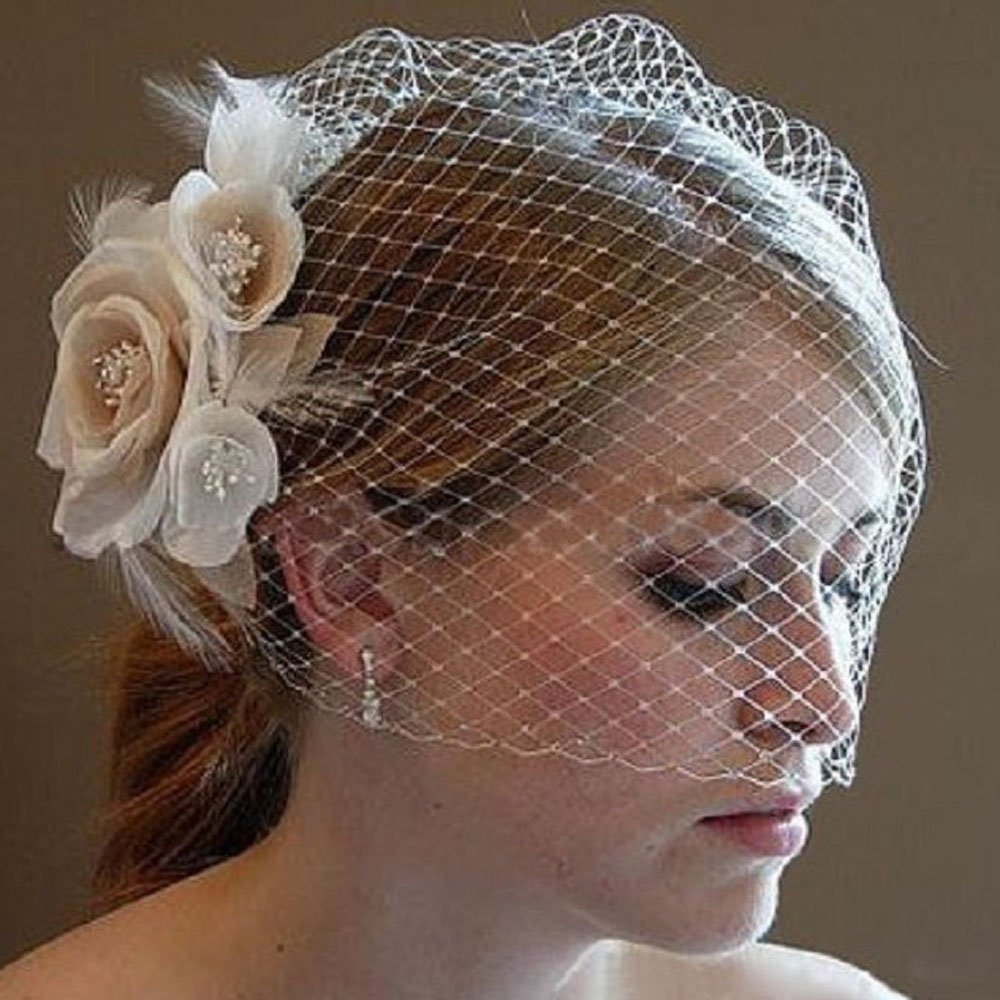 Kercisbeauty Wedding Bridal Flower Face Birdcage Single Layer Lace Champagne White Veil Drop with Hair Comb Chapel Dancing Prom Halloween Custom Hair Accessories by Kercisbeauty