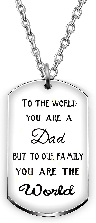 Colgante Collar Día del Padre Regalos Padre Padre Papa Llavero Portallaves al mundo que eres un padre pero a nuestra familia que eres el mundo