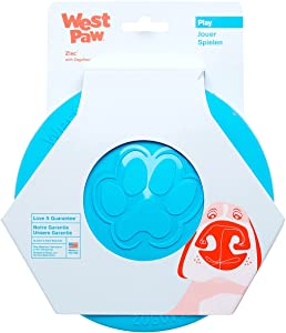 West Paw Zogoflex Zisc Dog Frisbee, High Flying Aerodynamic Disc for Dogs Puppy – Lightweight, Floatable Dog Frisbees for Fetch, Tug of War, Catch, Play – Doubles as Food/Water Bowl, S, Aqua