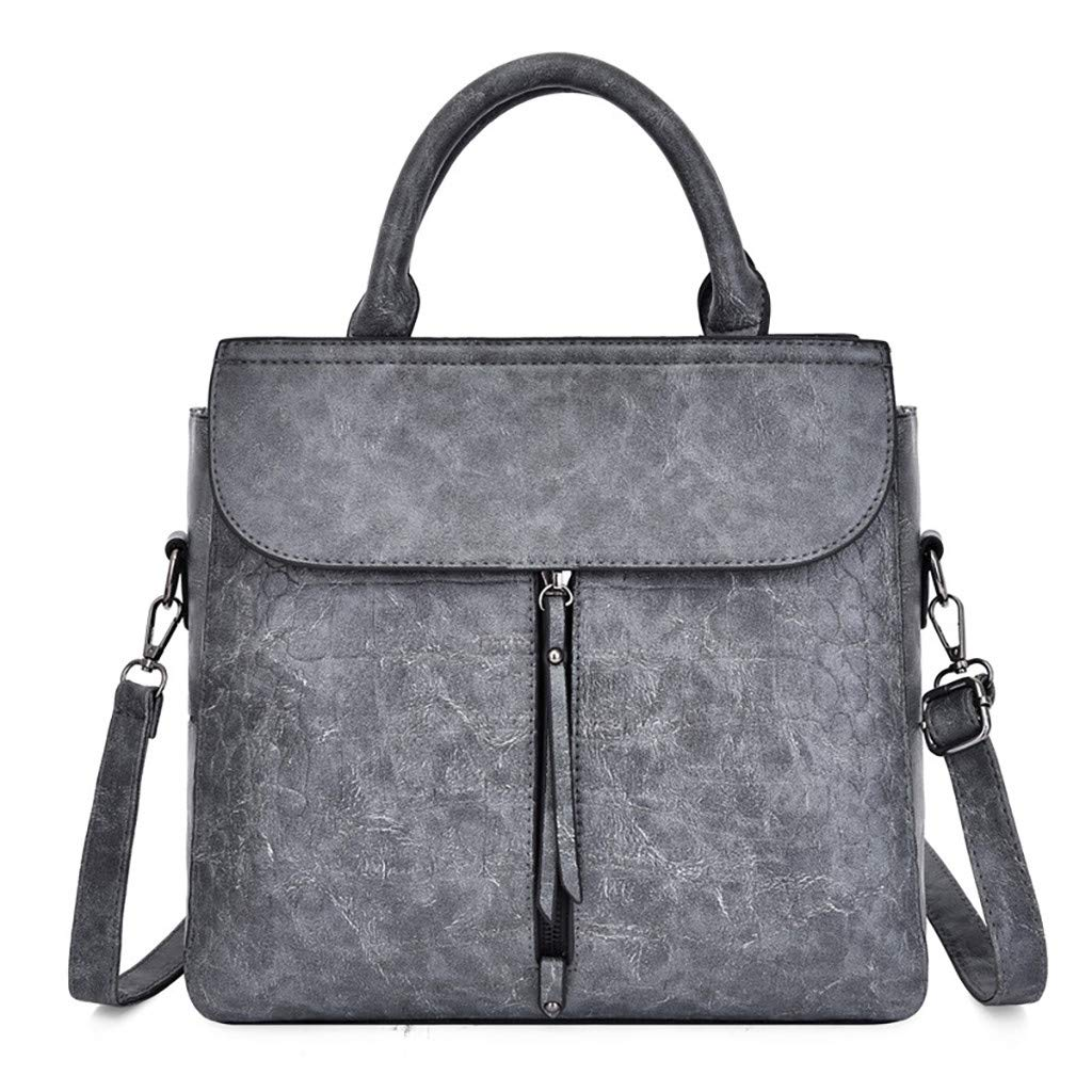 Fashionhe Shoulder Bag Women Alligator Crossbody Bag Casual Retro Handbag Messenger Bag Travel Daypack(Gray)