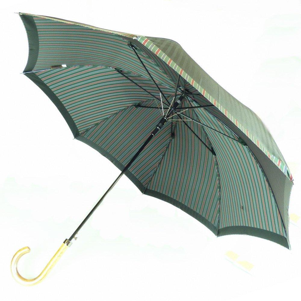 高級甲州織 メンズ 長傘 「Tie」無地  ストライプ GREEN 緑色 江戸時代から140年以上の歴史を持つ甲州織の老舗傘メーカー 槙田商店 紳士用 高級傘 B019M851WM グリーン(6724) グリーン(6724)