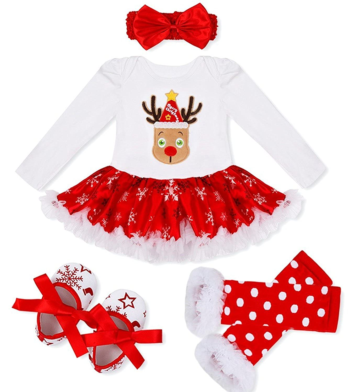 DecStore Beb/é Ni/ña Mi Primero Navidad Traje Fiesta Vestido Tutu Conjuntos 4PCS Set