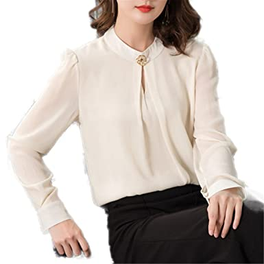 OUXIANGJU Women Spring Chiffon Blouse Casual Long Sleeve O-Neck Tops Solid Color Office Shirts