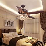 RainierLight Classical Crystal Ceiling Fan Lamp LED Light For Bedroom Living Room Hotel Restaurant