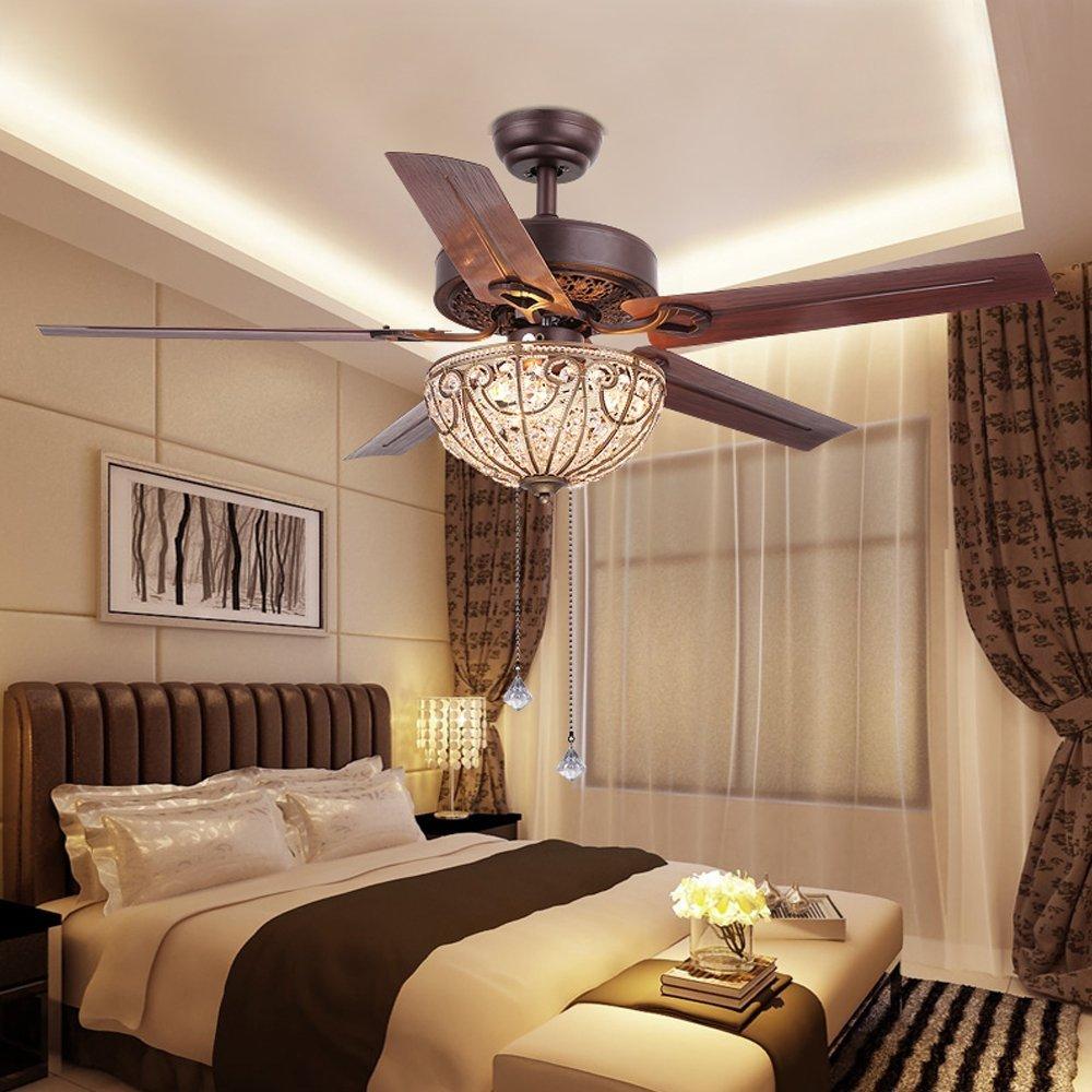 RainierLight Classical Crystal Ceiling Fan Lamp LED Light for ... for Ceiling Fans With Lights For Bedrooms  289ifm