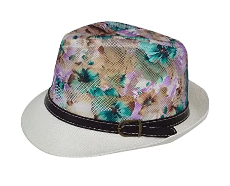 Chachlili 24 Woman s Floral Fedoras with Brown Leather Buckle Band ... d0eee93ed2d9