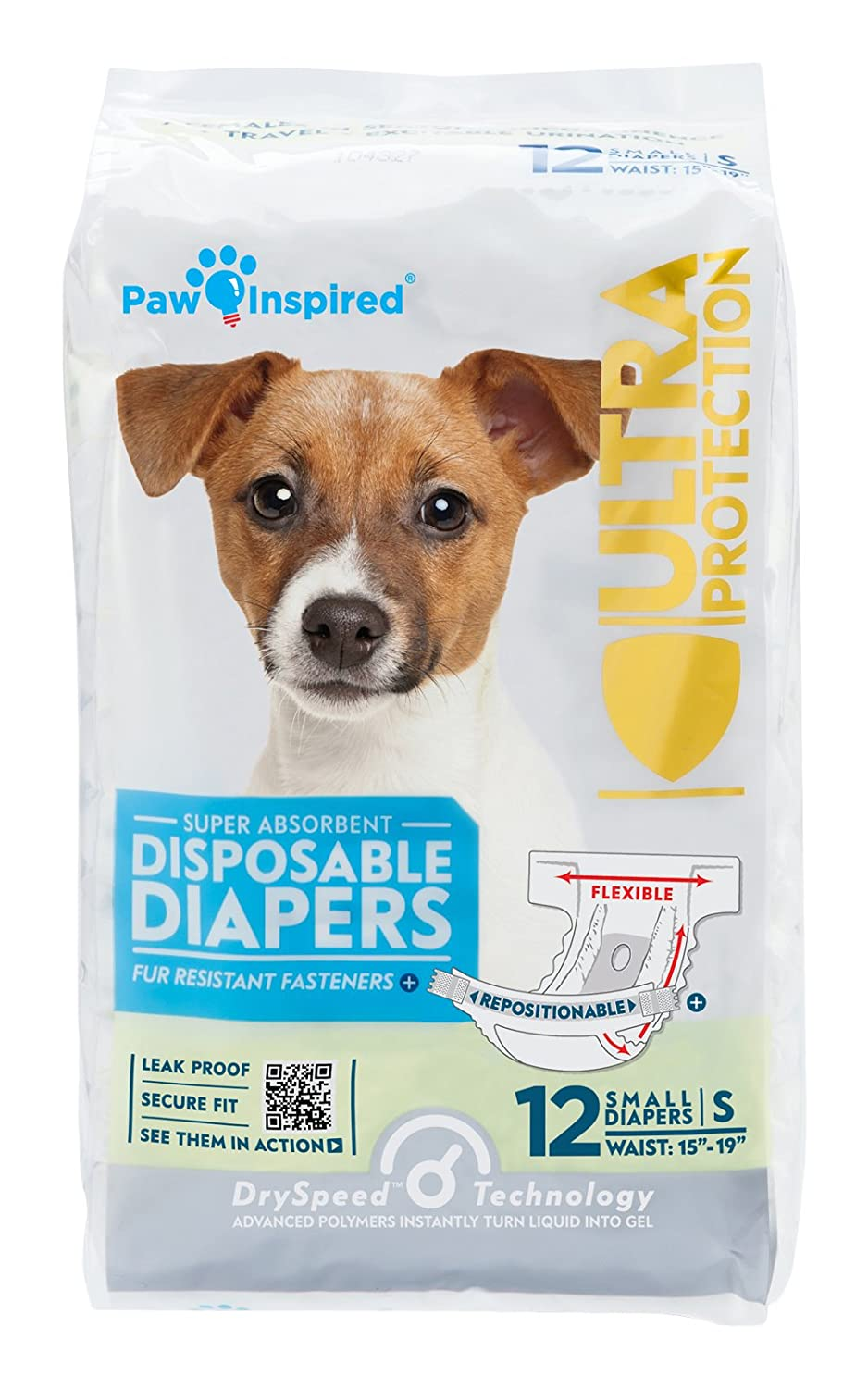 (Small, 12 Count) PAW Inspired Ultra Predection Female Disposable Dog Nappies