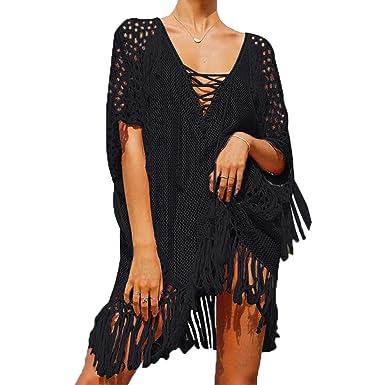 MuRstido Femmes Pareos Robe de Plage Crochet Creux Bikini Cover Up Été Col V 396d453b674