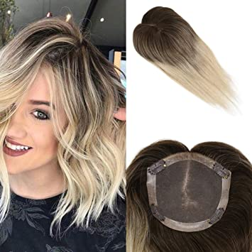 Mosoo Hair Topper for Short Hair 8 Inch Balayage