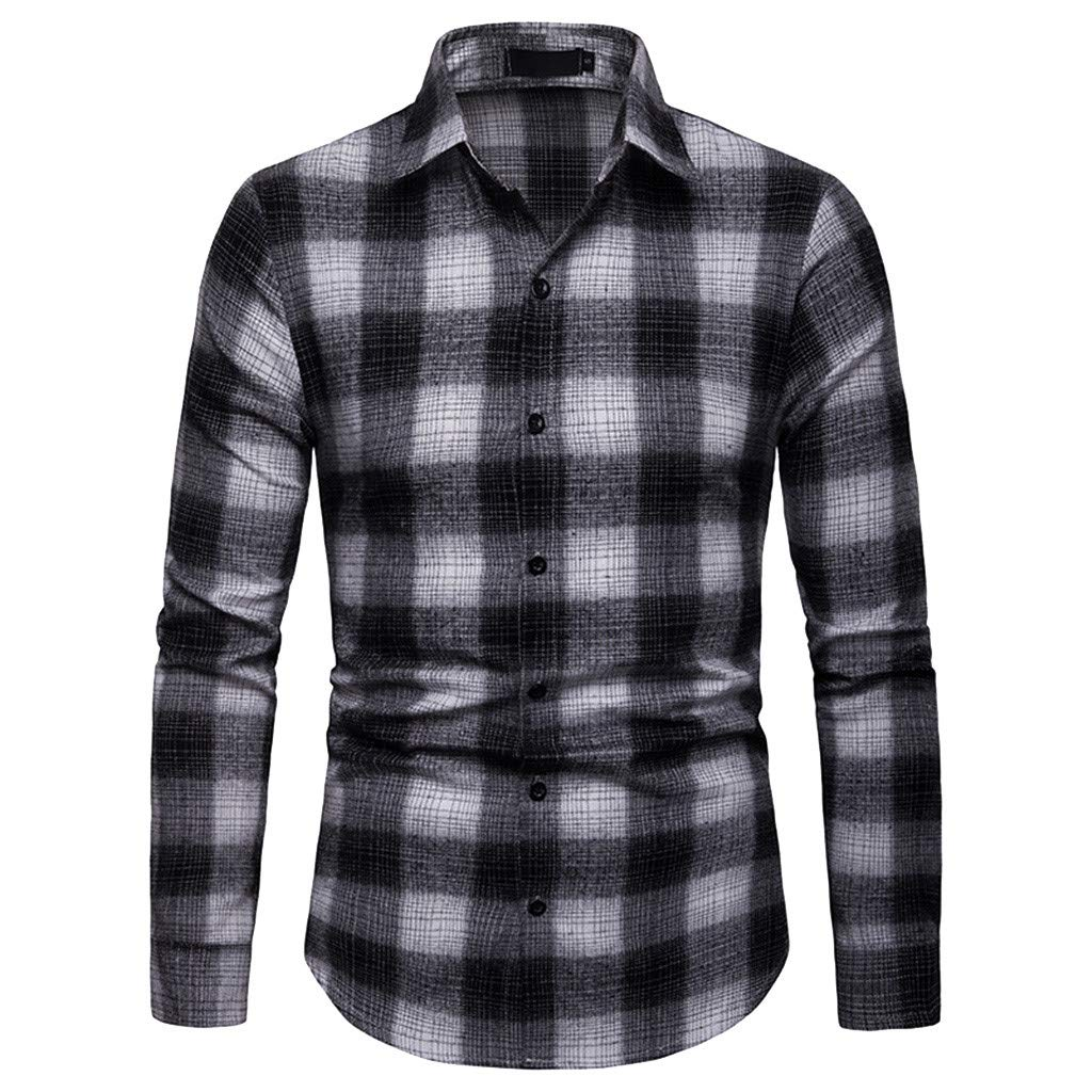 Mens Plaid Large Size Casual Business Striped Casual Lapel Long-Sleeved Shirt