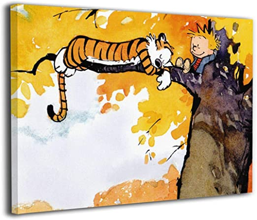 Amazon.com: KAYERDELLE Calvin Hobbes Canvas Wall Art Framed ...