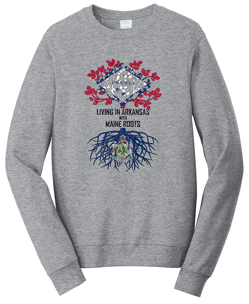 Tenacitee Unisex Living in Arkansas Maine Roots Sweatshirt