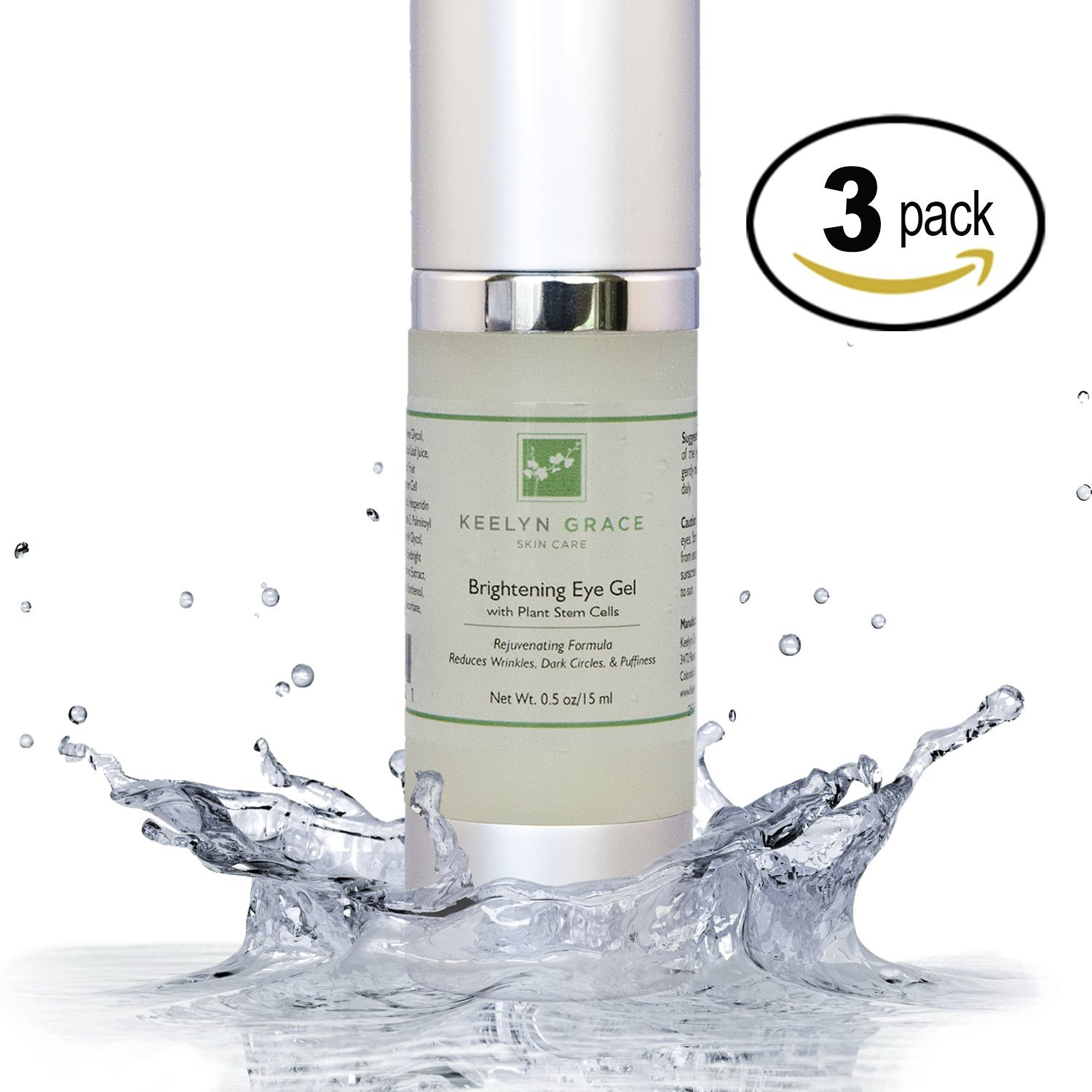 Eye Gel Cream for Dark Circles, Puffiness, Bags and Wrinkles by Keelyn Grace - 3-PACK Plant Stem Cell Therapy with Echinacea, Cucumber, Aloe and Licorice, Rich In Peptides, Vitamin C, Hyaluronic Acid