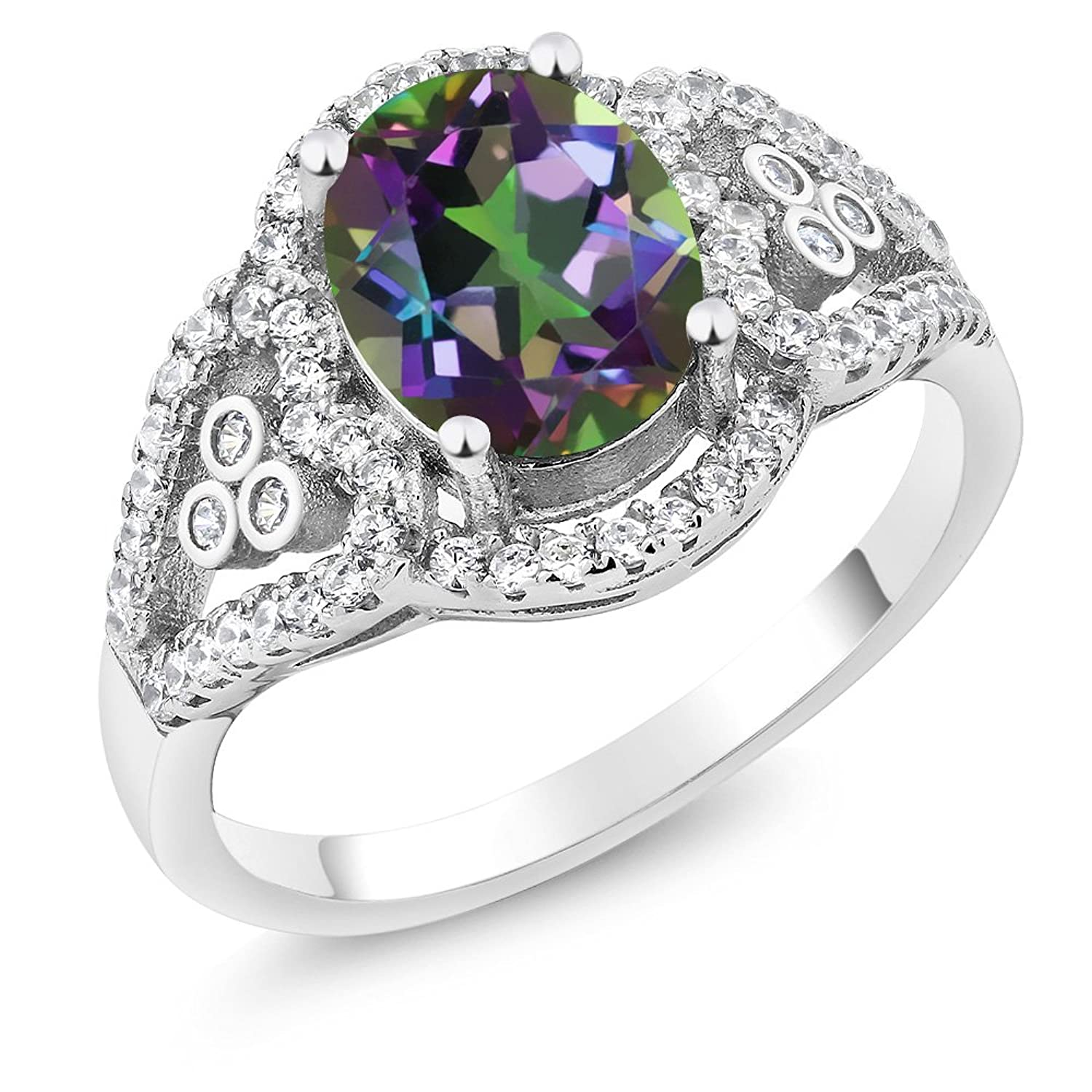 2.32 Ct 9x7mm Oval Green Mystic Topaz 925 Sterling Silver Ring (Available in size 5, 6, 7, 8, 9)