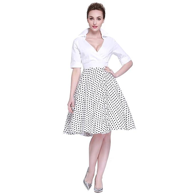 85bf7ae73d8fce Heroecol Vintage 1950s 50s Dress Style Retro Rockabiily Cocktail V Neck XS  WBD