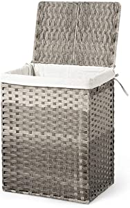 Cypress Shop Laundry Hamper Basket Foldable Hand Woven Rattan Removable Liner Bag Garment Waterproof Sorter Clothes Organizer Cotton Lining Washing Storage Bag Bin Dirty Clothing (Grey)