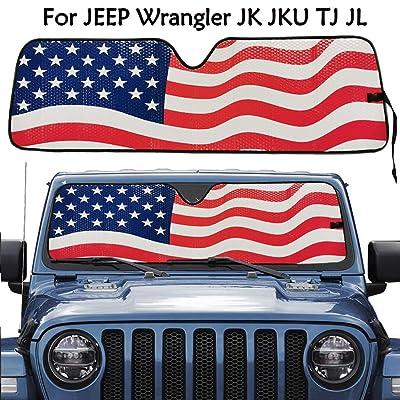 Big Ant Sun Shade,American Flag Windshield Sun Shade for Jeep Wrangler Rubicon Sahara TJ JK JKU 2 Door & 4 Door, Car Folded Front Window UV Rays Sun Visor Shade,Keep Vehicle Cool: Automotive