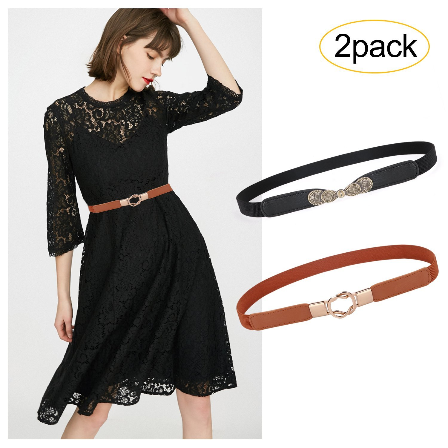 Fashion Elastic Thin Belts For Women Ladies Stretch Skinny Waist Belt For Dress 2 pack by SUOSDEY