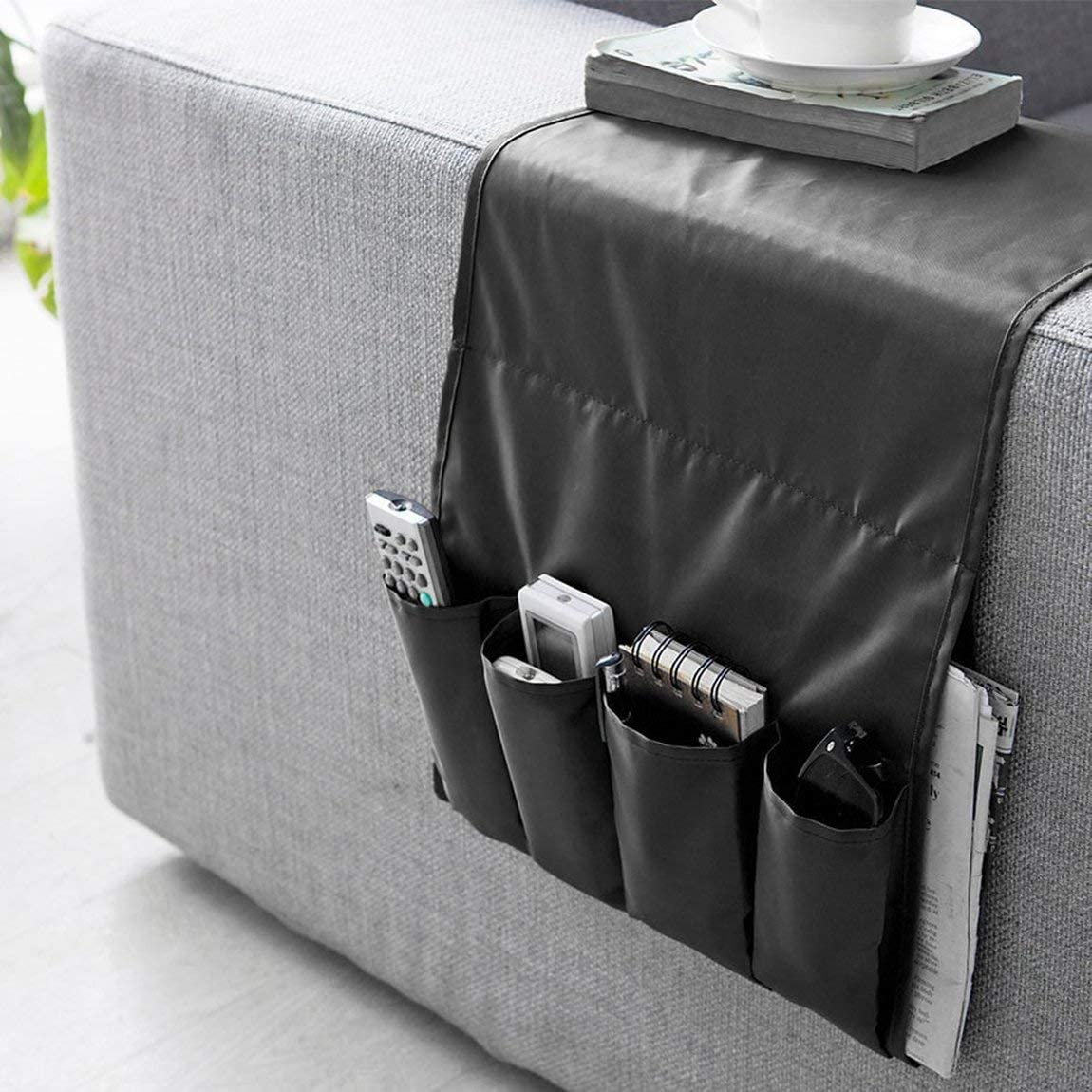 73JohnPol Sofa Couch Stuhl Armlehne Caddy Tasche Organizer Aufbewahrungstasche Multipockets f/ür B/ücher Handys Fernbedienung schwarz