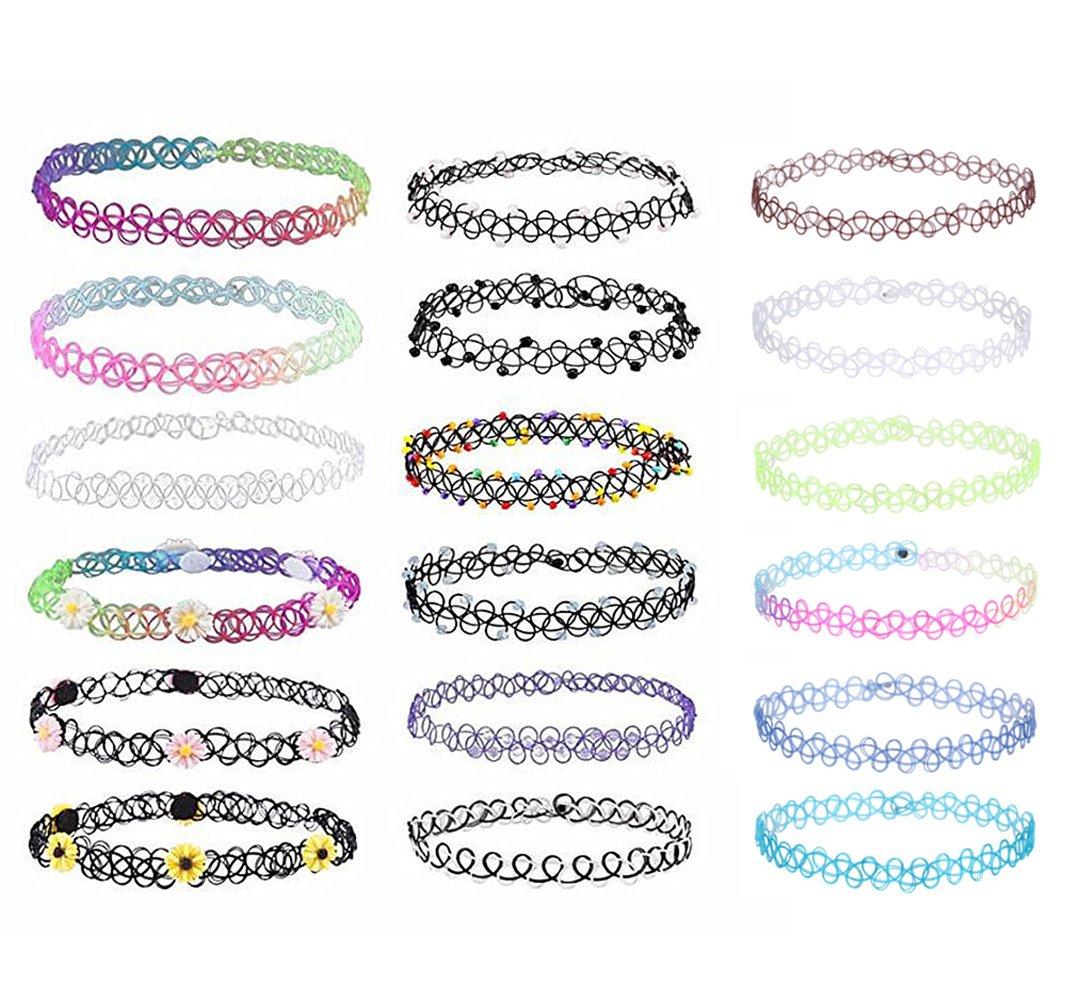 18pezzi girocollo arcobaleno fiori stretch gotico Tattoo Henna collana per ragazze MingJun