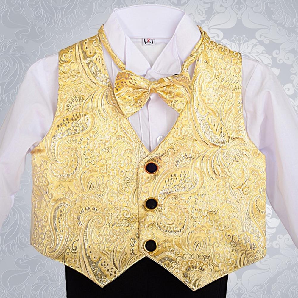 Lito Angels Baby Jungen Jacquard Weste 5-teilig formelle Smoking Anzug mit Schwanz Taufanzug Taufanzug