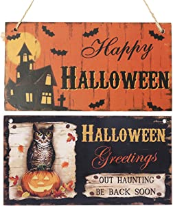 AiParty Halloween Wooden Hanging Door Decorations and Wall Art Signs.Happy Halloween Decorative Signs for Home,School,Office,Shopping Center, Party Decorations.2PCS
