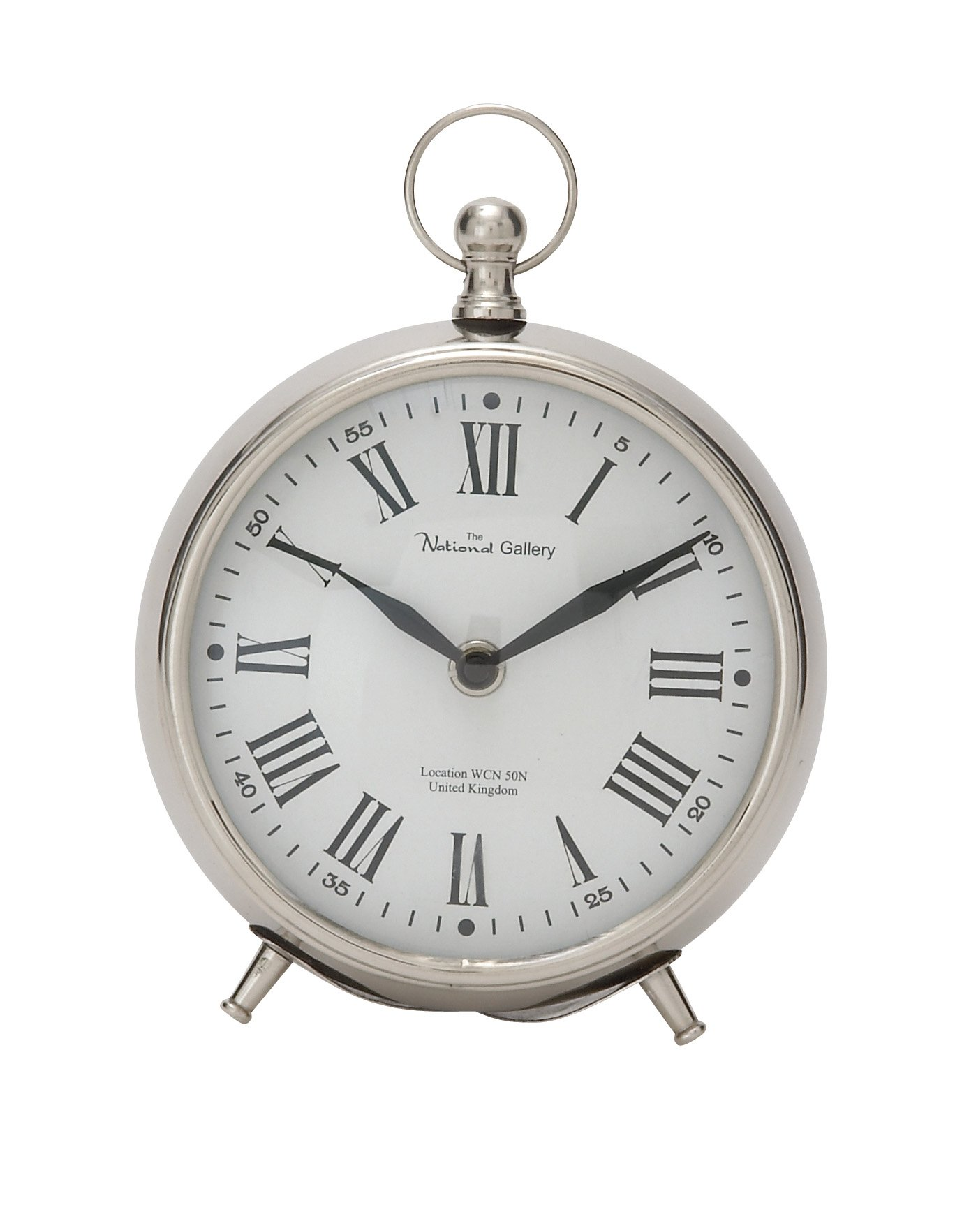"""Deco 79 40681 Well-Made Metal Table Clock, 6"""" W x 7"""" H - Color: silver Finish: Glossy Material: metal - clocks, bedroom-decor, bedroom - 71YBfAGBLUL -"""