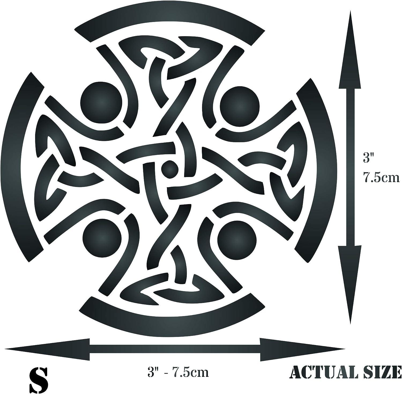 - Religious Tribal Knotwork Stencils 7.62 x 7.62 cm S Celtic Cross Stencil
