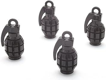 4x Ventilkappen Handgranate Granate Farbe Schwarz Black Ventilkappe Vhsch Auto