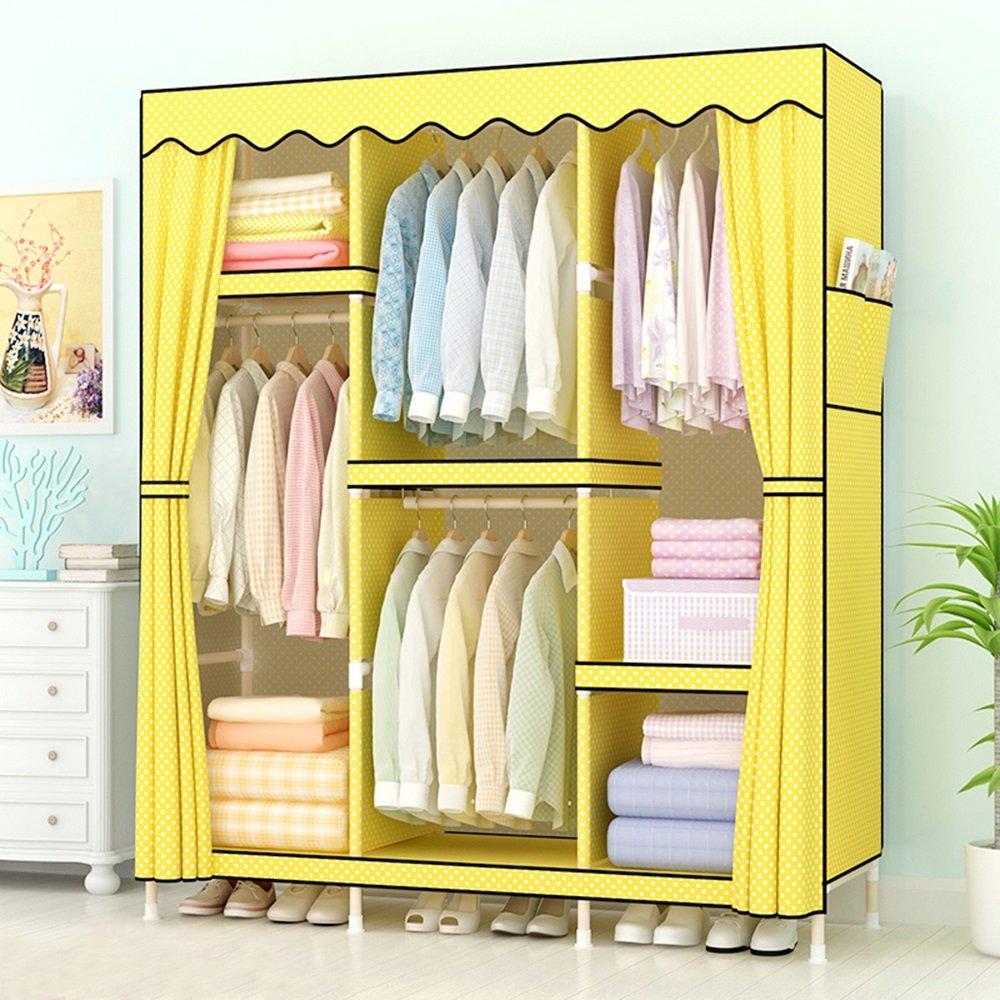 Armoire à tissu simple armoire en bois massif armoires en tissu double Jaune ( Couleur : Le jaune )