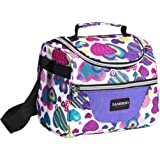 Lunch Bag for Kids Insulated Lunch Box for Girls Boys Children Student Cooler Lunch Tote Bag with Adjustable Shoulder Strap and Front Pocket Perfect for School Work Picnic Outdoor Activities (Purple)