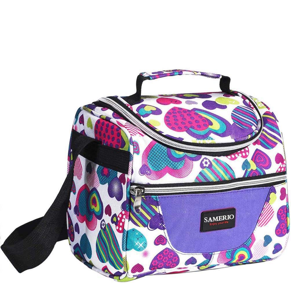 Kids Lunch Bag insulated Lunch Box Lunch Organizer Cooler Bento Bags for School Work/Girls Boys Children Studen Women with Adjustable Strap and Zip Closure Travel Lunch Tote, Front Pocket (purple) by SAMERIO
