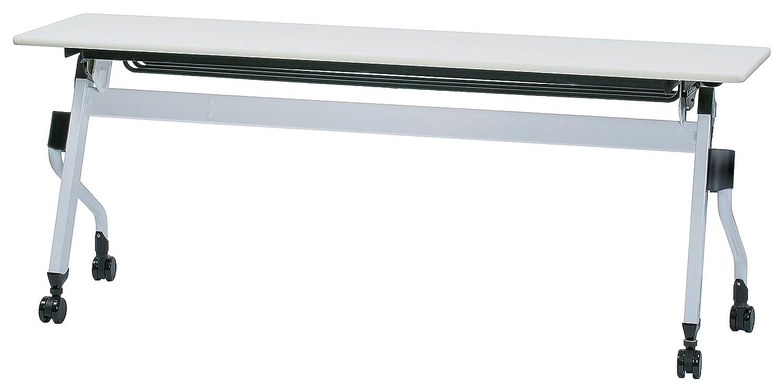 会議テーブル 跳ね上げ式 W1800×D450×H700 幕板無し 黒色棚 平行スタックテーブル GD-661 (WH:ホワイト) B01N6Z13A2WH:ホワイト