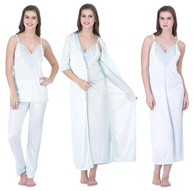 5ce48e13a1 Claura Women s Satin Night Dress 1 Nighty 1 Robe 1 Top 1 Pyjama ...