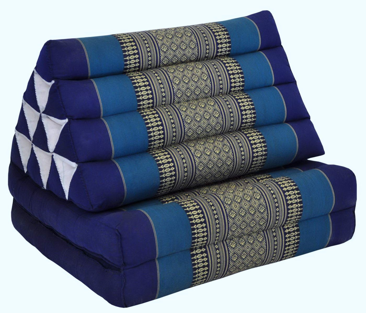 Thai triangular cushion with mattress 2 folds, blue, relaxation, beach, pool, meditation garden (82202) by Wilai GmbH