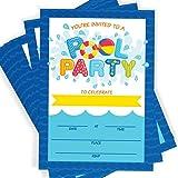 Amazon Com Boy Pool Party Birthday Invitations Summer Pool Party