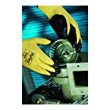 """Ansell 103338 HyFlex 11-500 Black Foam Nitrile Palm Coated Kevlar Gloves, 0.38"""" Height, 9.5"""" Length, 4"""" Wide, Size 9, Black/Yellow"""