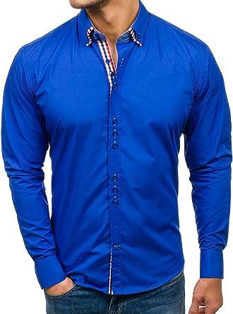 BOLF Señor Camisa Ocio Manga Larga Top Figurbetont Slim Diseño 2b2 Mittelblau Small: Amazon.es: Ropa y accesorios