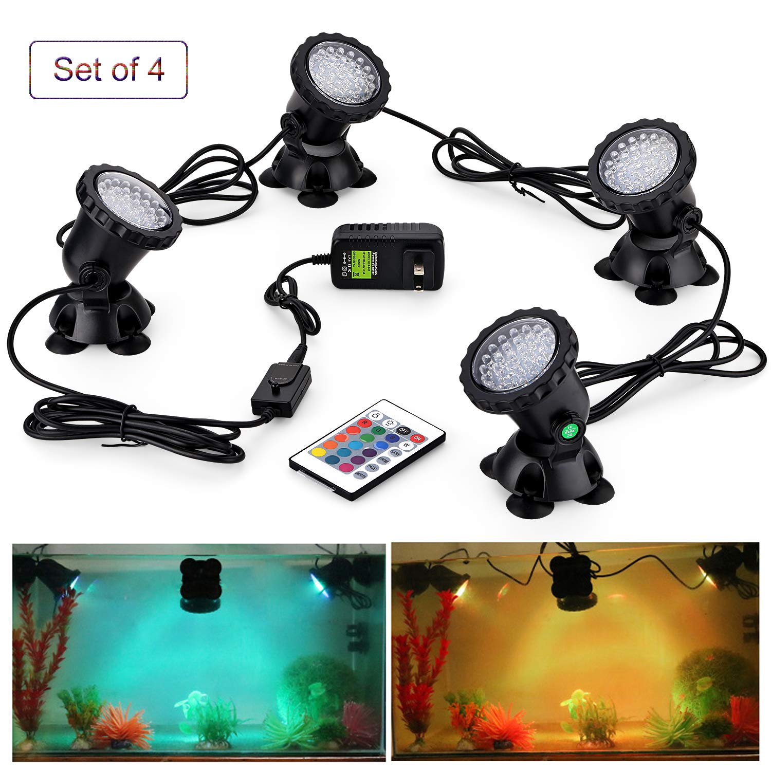 CPROSP Remote Control Pond Lights 8W Submersible Lamp IP68 Waterproof Underwater Aquarium Spotlight 36-LED Multicolor Decoration Landscape Lamp for Swimming Pool Fish Tank Fountain (Set of 4) by CPROSP