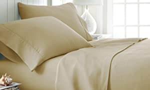 ienjoy Home Hotel Collection Luxury Soft Brushed Bed Sheet Set, Hypoallergenic, Deep Pocket, Queen, Gold