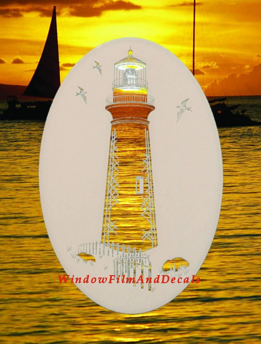 Lighthouse Oval Etched Window Decal Vinyl Glass Cling - 21'' x 33'' - White with Clear Design Elements by Vinyl Etchings
